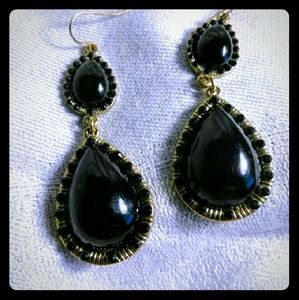 Jewelry - Gold Tone Black Teardrop Dangle Pierced Earrings